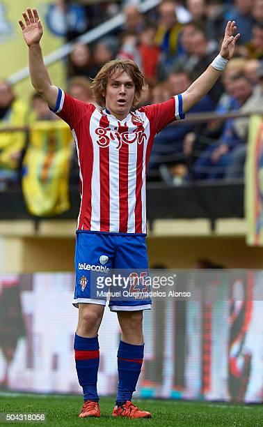 Alen Halilovic of Sporting de Gijon reacts during the La Liga match between Villarreal CF and Real Sporting de Gijon at El Madrigal on January 10...