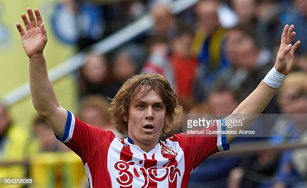Alen Halilovic of Sporting de Gijon reacts during the La Liga match between Villarreal CF and Real Sporting de Gijon at El Madrigal on January 10...