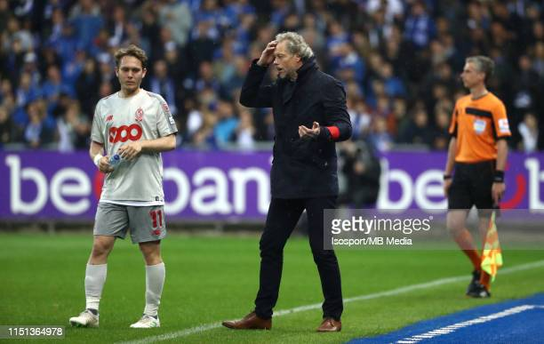 """Alen Halilovic of Standard and Michel Preud""""u2019Homme, head coach of Standard, during the Jupiler Pro League play-off 1 match between Krc Genk and..."""