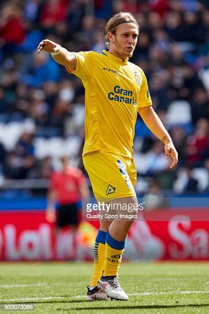 Alen Halilovic of UD Las Palmas looks on during the La Liga match between Deportivo La Coruna and Las Palmas at Abanca Riazor Stadium on March 17...