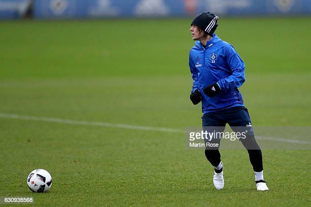 Alen Halilovic runs with the ball during a training session of Hamburger SV at Volksparkstadion on January 4 2017 in Hamburg Germany