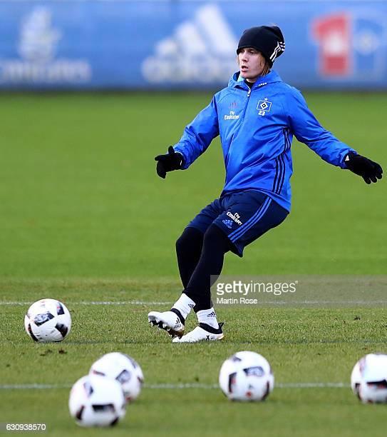 Alen Halilovic runs with the ball during a training session of Hamburger SV at Volksparkstadion on January 4 2017 in Hamburg Germany