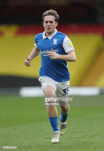 Alen Haliovic of Birmingham during the Sky Bet Championship match between Watford and Birmingham City at Vicarage Road on March 20, 2021 in Watford,...