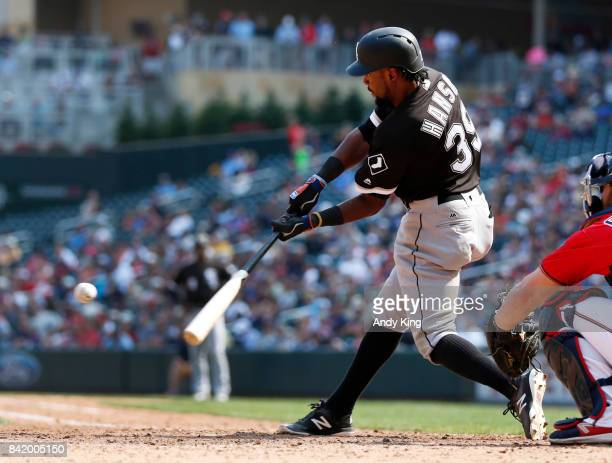Alen Hanson of the Chicago White hits a home run against the Minnesota Twins in the ninth inning during of their baseball game on August 31 at Target...