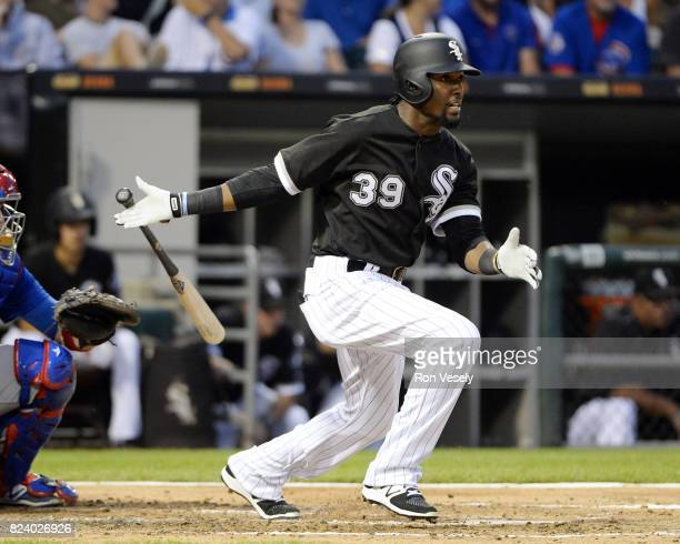 Alen Hanson of the Chicago White Sox bats against the Chicago Cubs on July 26 2017 at Guaranteed Rate Field in Chicago Illinois The Cubs defeated the...
