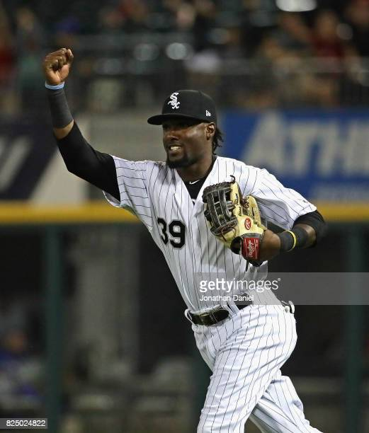 Alen Hanson of the Chicago White Sox celebrates after making a catch off of teammate Jose Abreu's glove against the Toronto Blue Jays at Guaranteed...
