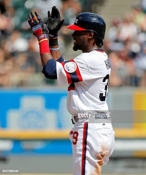 Alen Hanson of the Chicago White Sox reacts after hitting a double against the Tampa Bay Rays during the third inning at Guaranteed Rate Field on...
