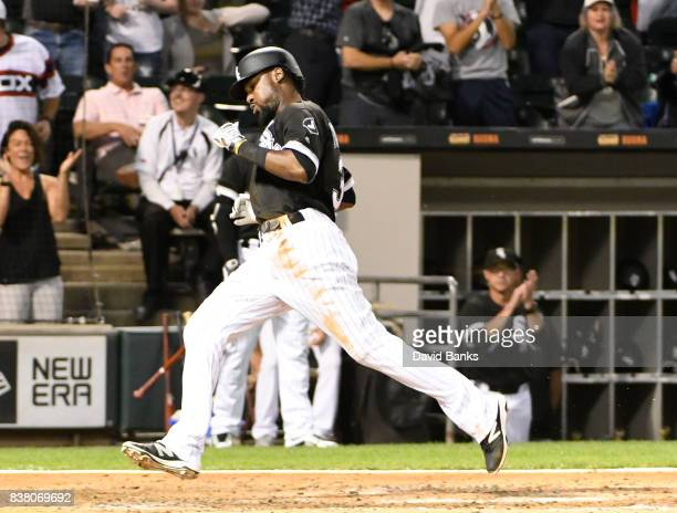Alen Hanson of the Chicago White Sox scores against the Minnesota Twins during the third inning on August 23 2017 at Guaranteed Rate Field in Chicago...