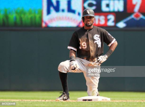 Alen Hanson of the Chicago White waits after getting called out after stealing second base against the Minnesota Twins in the sixth inning during of...