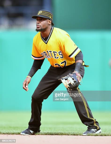 Alen Hanson of the Pittsburgh Pirates in action during the game against the Milwaukee Brewers at PNC Park on May 7 2017 in Pittsburgh Pennsylvania