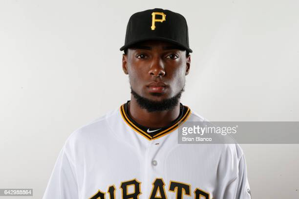 Alen Hanson of the Pittsburgh Pirates poses for a photograph during MLB spring training photo day on February 19 2017 at Pirate City in Bradenton...