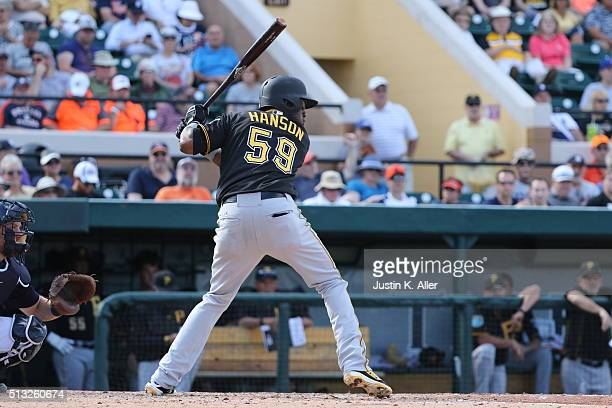 Alen Hanson of the Pittsburgh Piratess in action during the game against the Detroit Tigers at Joker Marchant Stadium on March 1 2016 in Lakeland...