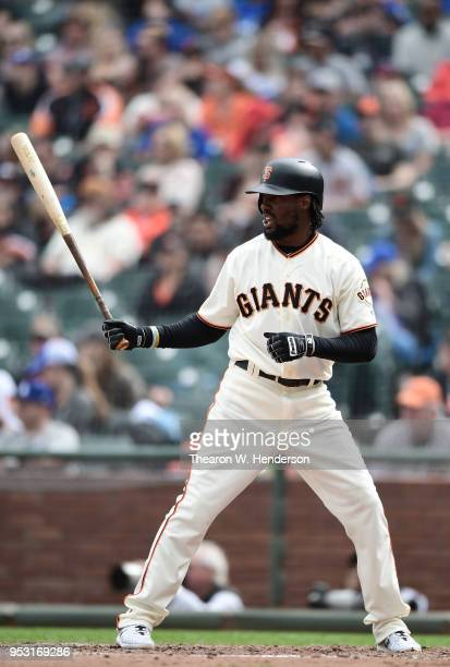 Alen Hanson of the San Francisco Giants bats against the Los Angeles Dodgers in the bottom of the seventh inning at ATT Park on April 28 2018 in San...