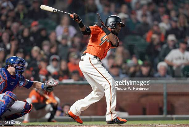 Alen Hanson of the San Francisco Giants bats against the New York Mets in the bottom of the third inning at ATT Park on August 31 2018 in San...