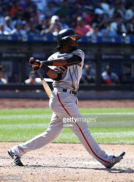 Alen Hanson of the San Francisco Giants bats against the New York Mets during their game at Citi Field on August 23 2018 in New York City