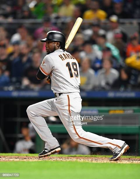Alen Hanson of the San Francisco Giants bats during the game against the Pittsburgh Pirates at PNC Park on May 12 2018 in Pittsburgh Pennsylvania