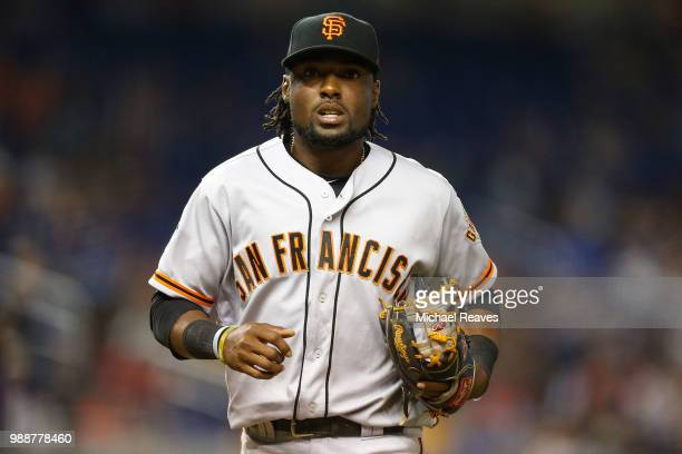 Alen Hanson of the San Francisco Giants in action against the Miami Marlins at Marlins Park on June 14 2018 in Miami Florida