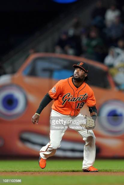 Alen Hanson of the San Francisco Giants reacts to a popup against the New York Mets in the top of the fourth inning at ATT Park on August 31 2018 in...