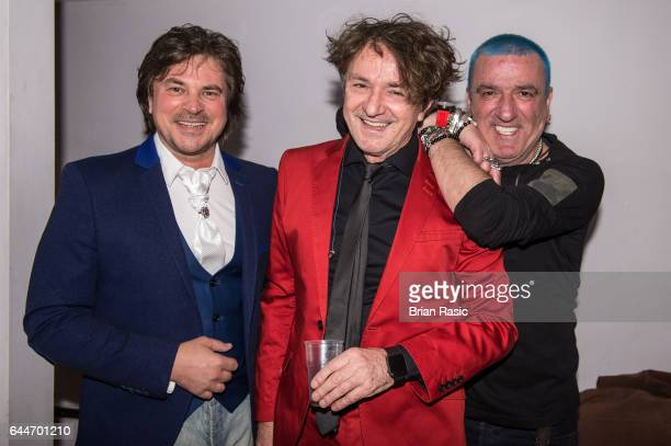 Alen Islamovic Goran Bregovic and Mladen Vojicic Tifa of Goran Bregovic Bijelo Dugme backstage at The Eventim Apollo on February 23 2017 in London...