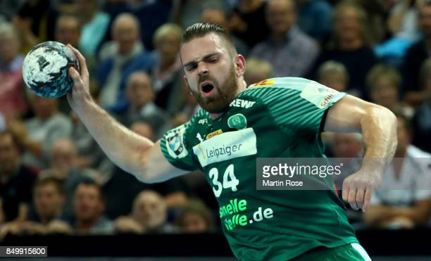 Alen Milosevic of Leipzig in action during the DKB HBL Bundesliga match between THW Kiel and DHfK Leiipzig at Sparkassen Arena on September 14 2017...