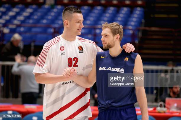 Alen Omic #92 of AX Armani Exchange Olimpia Milan and Kevin Pangos #3 of FC Barcelona Lassa before 2018/2019 Turkish Airlines EuroLeague Regular...