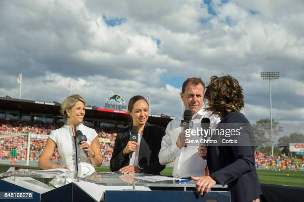 Alen Stajcic coach of Australia is interviewed before the women's international match between the Australian Matildas and Brazil at Pepper Stadium on...