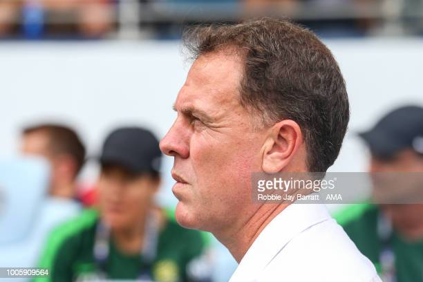 Alen Stajcic head coach / manager of Australia during the 2018 Tournament Of Nations women match between Australia and Brazil at Children's Mercy...
