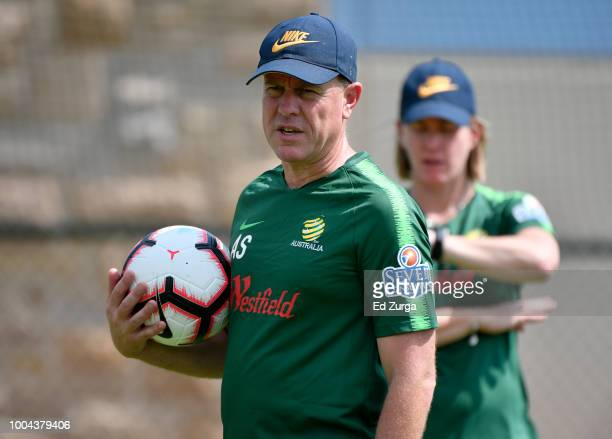 Alen Stajcic head coach of Australia directs his team during a training session for an upcoming match in the Tournament of Nations at Swope Soccer...