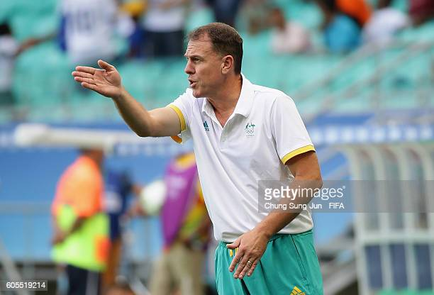 Alen Stajcic head coach of Australia gestures during the Women's Football match between Austrlia and Zimbabwe on Day 4 of the Rio 2016 Olympic Games...