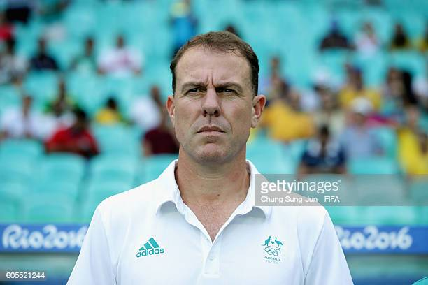 Alen Stajcic head coach of Australia looks on during the Women's Football match between Austrlia and Zimbabwe on Day 4 of the Rio 2016 Olympic Games...