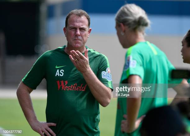 Alen Stajcic head coach of Australia talks with his team during a training session for an upcoming match in the Tournament of Nations at Swope Soccer...
