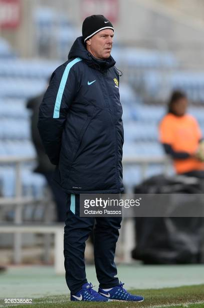 Alen Stajcic of Australia reacts during the Women's Algarve Cup Tournament match between Portugal and Australia at Algarve stadium on March 2 2018 in...
