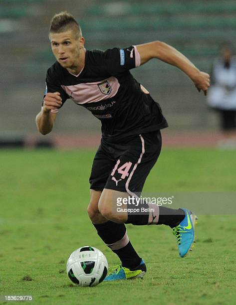 Alen Stevanovic of Palermo in action during the Serie B match between AS Bari and US Citta di Palermo at Stadio San Nicola on September 24 2013 in...