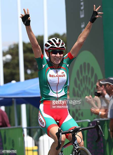 Alena Amialiusik of Belarus celebrates winning the Women's Road Race during day eight of the Baku 2015 European Games at Freedom Square on June 20...