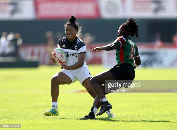 Alena Faalogoifo Saili of New Zealand is tackled by Michelle Sinaida Omondi of Kenya on day one of the Emirates Dubai Rugby Sevens HSBC World Rugby...