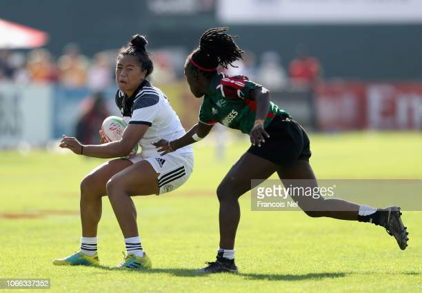 Alena Faalogoifo Saili of New Zealand is tackled by Michelle Sinaide Omondi of Kenya on day one of the Emirates Dubai Rugby Sevens HSBC World Rugby...
