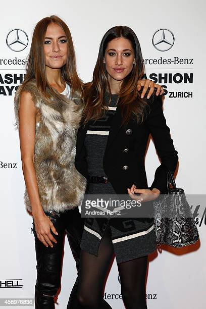 Alena Gerber and Bianca Gubser attend the Notte Italiana presented by Troi Pommes Event during the MercedesBenz Fashion Days Zurich 2014 on November...