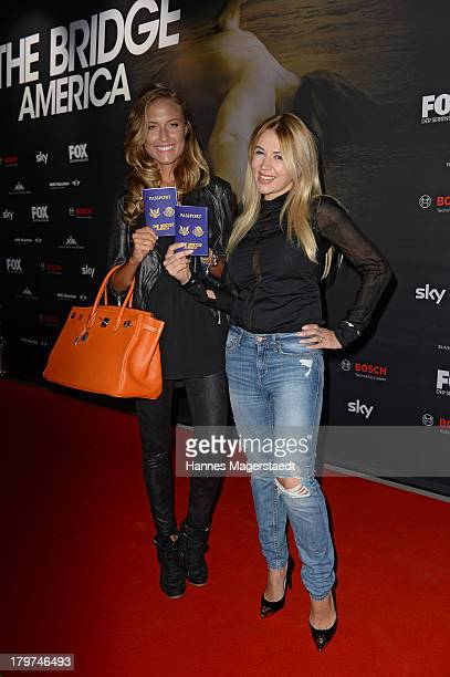 Alena Gerber and Davorka Tovilo attend the 'The Bridge - America' preview screening of the tv channel FOX on September 6, 2013 in Munich, Germany.