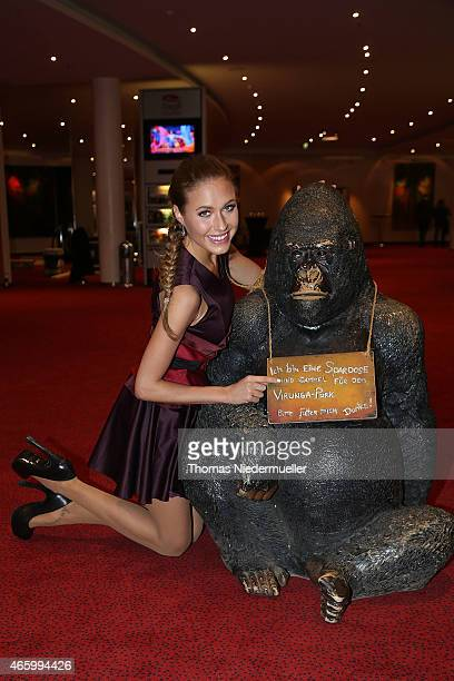 Alena Gerber poses during the break at the Tarzan musical charity event at Stage Apollo Theater on March 12 2015 in Stuttgart Germany