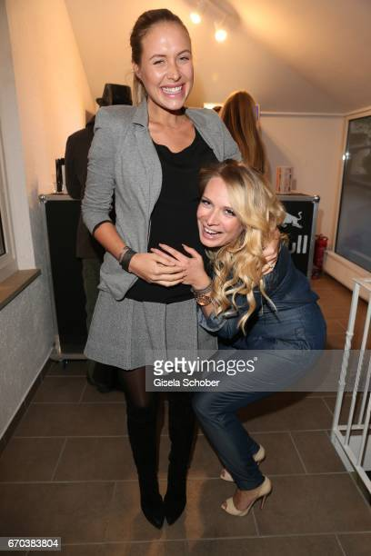 Alena Gerber pregnant and her best friend Fashion designer of Just Eve Eva Krsak during the Just Eve spring fever fashion show on April 19 2017 in...