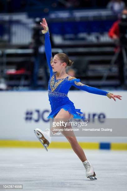 Alena Kostornaia of Russia competes in the Junior Ladies Free Skating during the ISU Junior Grand Prix of Figure Skating at Ostravar Arena on...