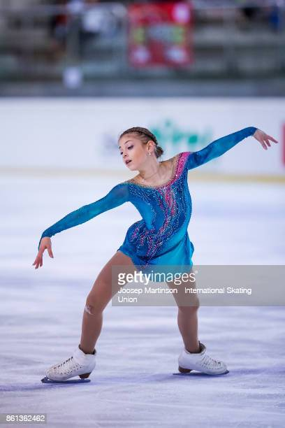 Alena Kostornaia of Russia competes in the Junior Ladies Free Skating during day three of the ISU Junior Grand Prix of Figure Skating at Wurth Arena...