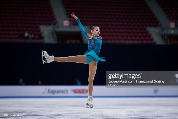 Alena Kostornaia of Russia competes in the Junior Ladies Free Skating during the World Junior Figure Skating Championships at Arena Armeec on March...