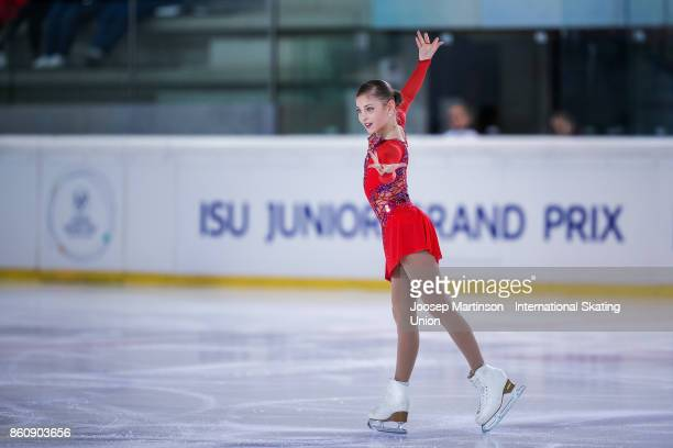 Alena Kostornaia of Russia competes in the Junior Ladies Short Program during day one of the ISU Junior Grand Prix of Figure Skating at Wurth Arena...