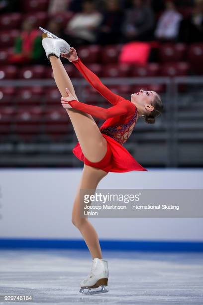 Alena Kostornaia of Russia competes in the Junior Ladies Short Program during the World Junior Figure Skating Championships at Arena Armeec on March...