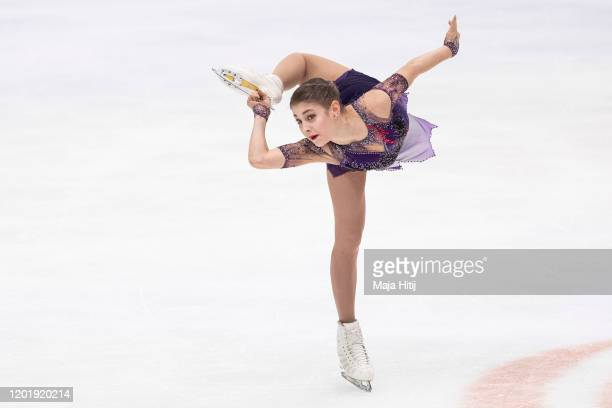 Alena Kostornaia of Russia competes in the Ladies Free Skating during day 4 of the ISU European Figure Skating Championships at Steiermarkhalle on...