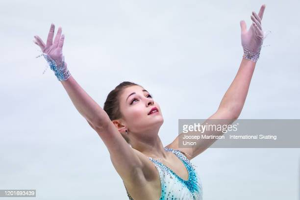 Alena Kostornaia of Russia competes in the Ladies Short Program during day 3 of the ISU European Figure Skating Championships at Steiermarkhalle on...