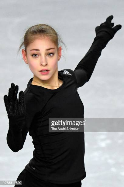 Alena Kostornaia of Russia in action during a practice session ahead of the ISU Junior Senior Grand Prix of Figure Skating Final at Doug Mitchell...