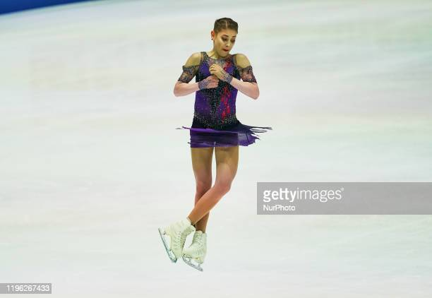 Alena Kostornaia of Russia in action during Ladies Free Skating at ISU European Figure Skating Championships in Steiermarkhalle Graz Austria on...