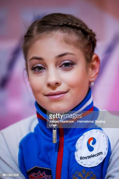 Alena Kostornaia of Russia looks on at the kiss and cry in the Junior Ladies Free Skating during day three of the ISU Junior Grand Prix of Figure...